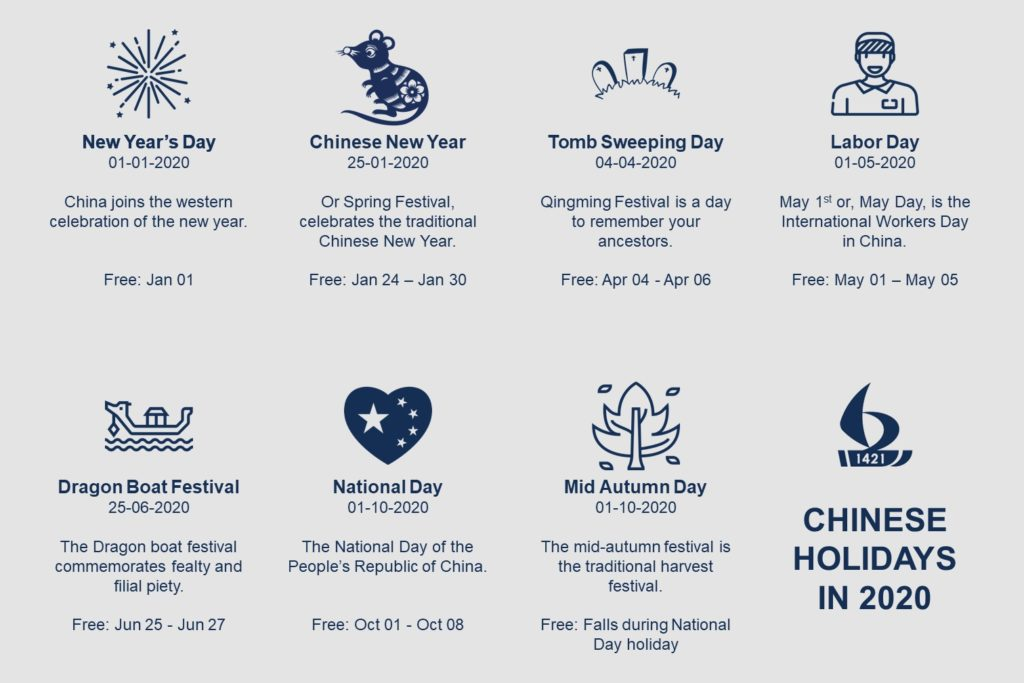 Chinese Public Holidays in 2020
